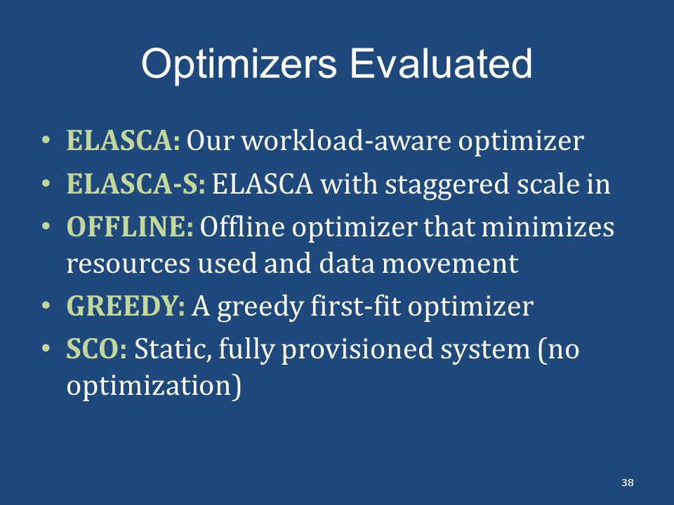 Optimizers Evaluated ELASCA: Our workload-aware optimizer