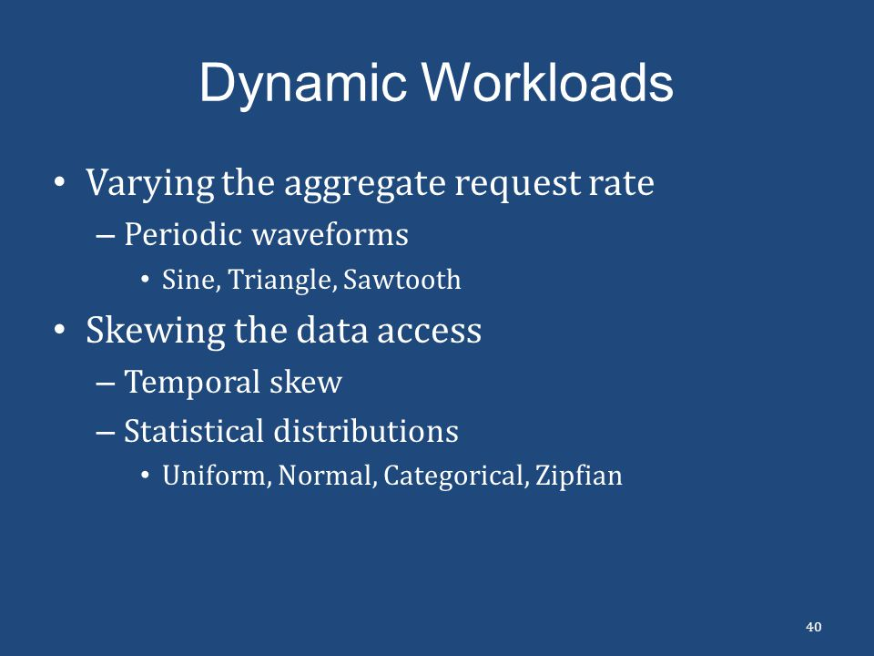 Dynamic Workloads Varying the aggregate request rate
