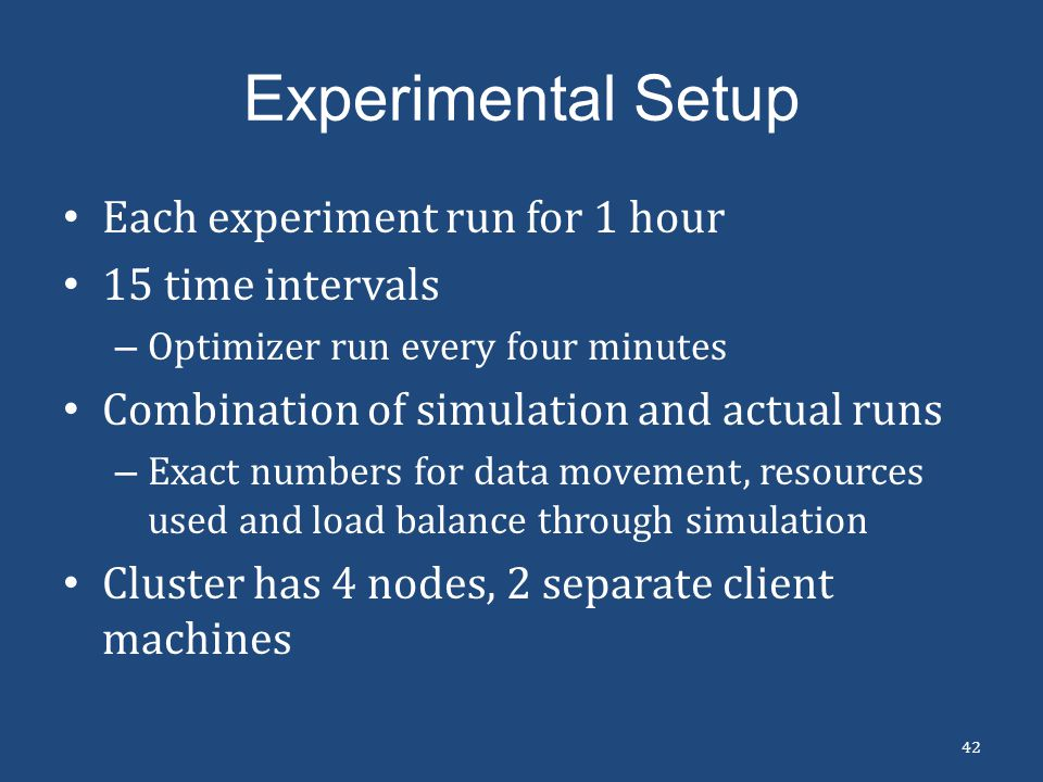 Experimental Setup Each experiment run for 1 hour 15 time intervals