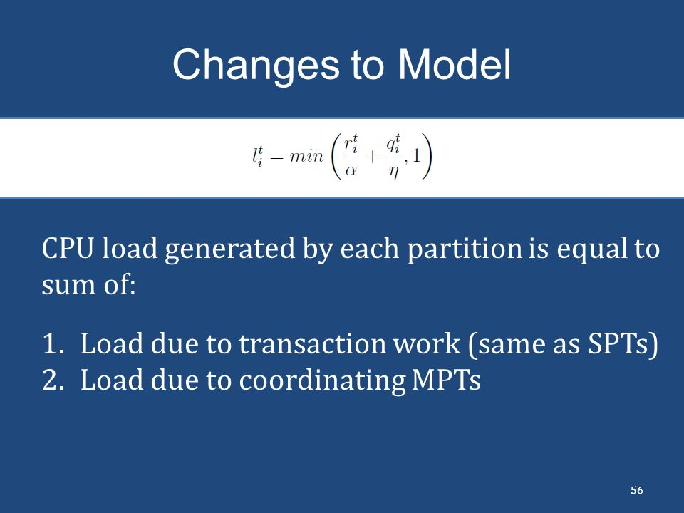 Changes to Model CPU load generated by each partition is equal to sum of: Load due to transaction work (same as SPTs)