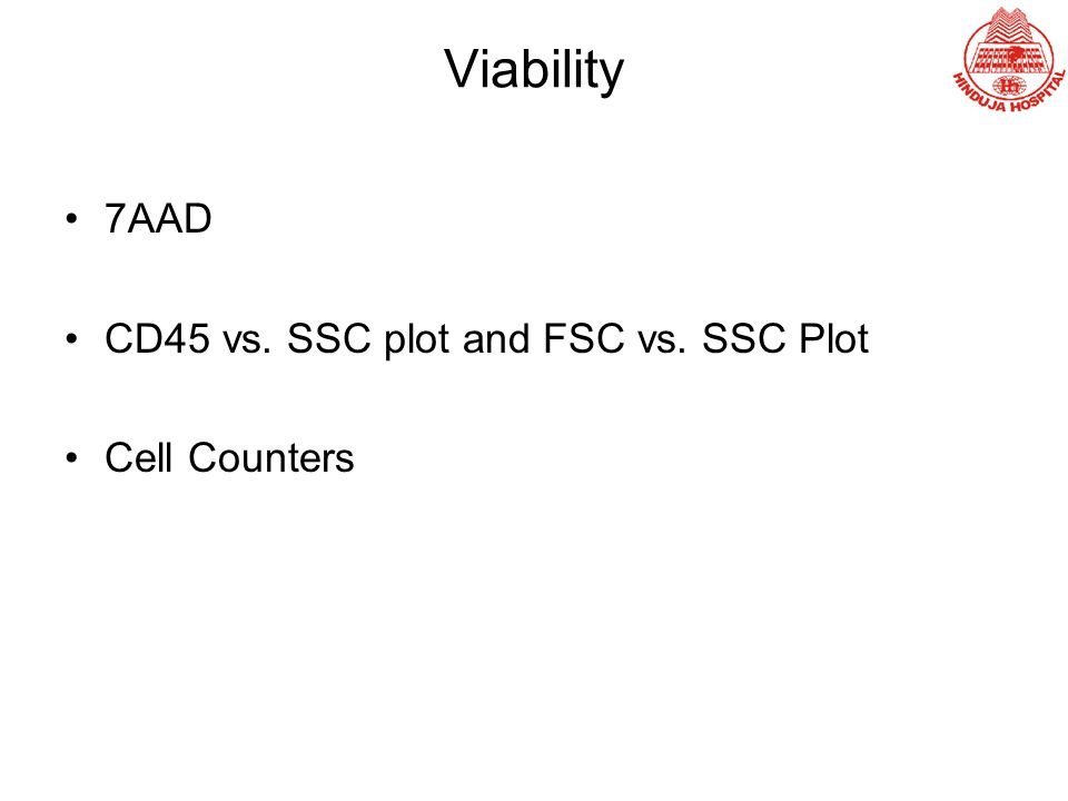 Viability 7AAD CD45 vs. SSC plot and FSC vs. SSC Plot Cell Counters