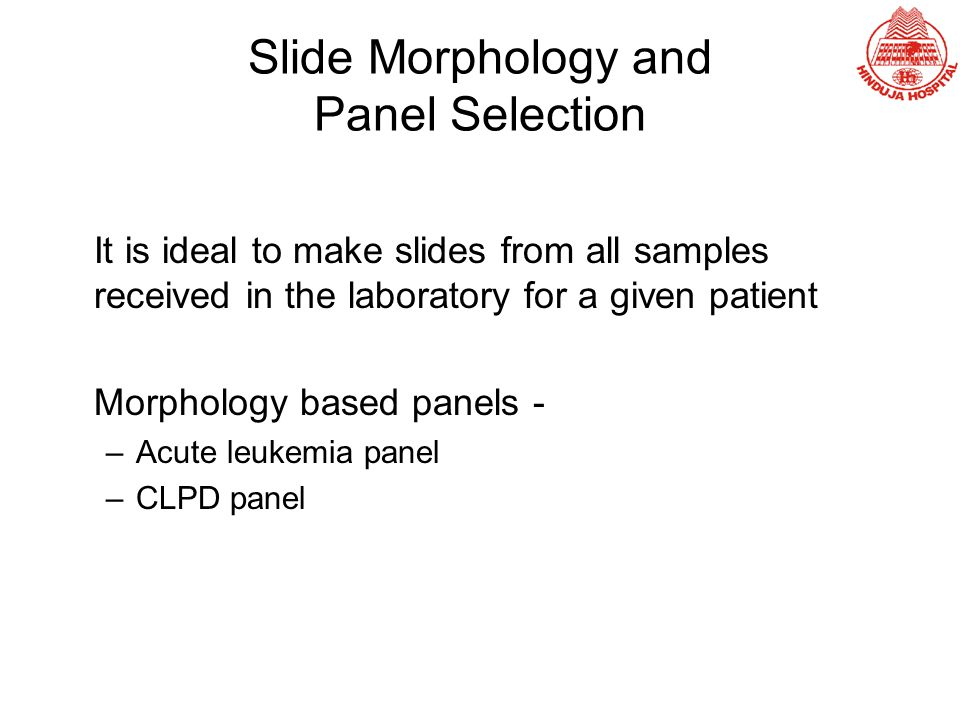 Slide Morphology and Panel Selection