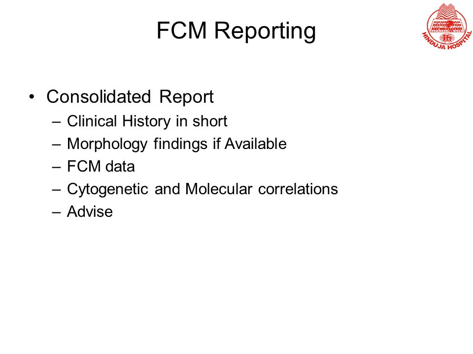 FCM Reporting Consolidated Report Clinical History in short