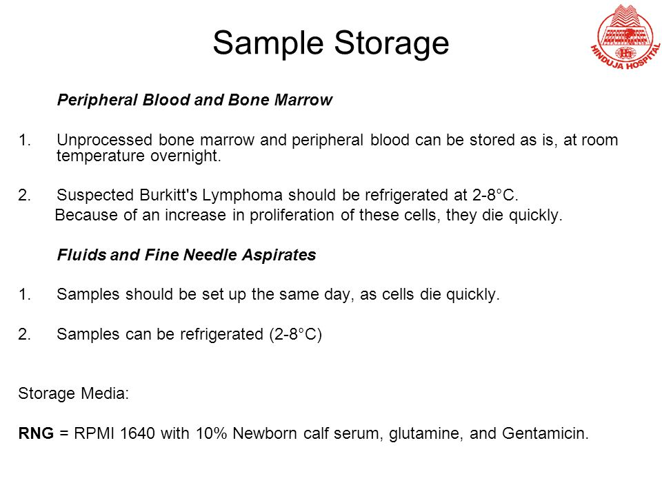 Sample Storage Peripheral Blood and Bone Marrow