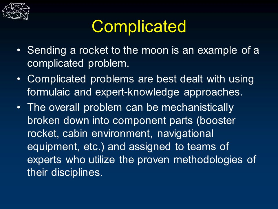 Complicated Sending a rocket to the moon is an example of a complicated problem.