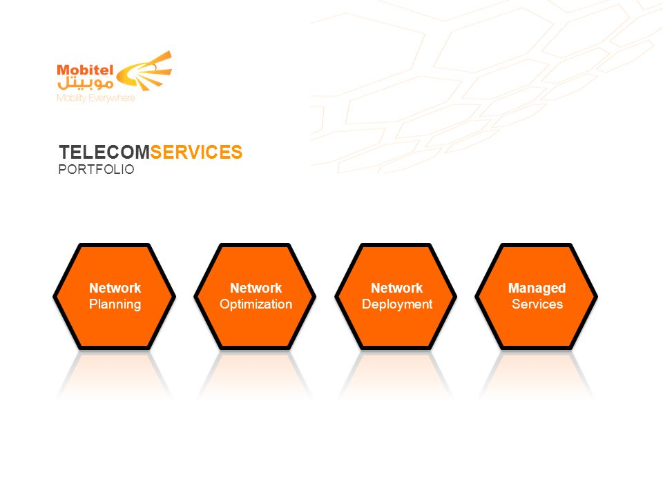 TELECOMSERVICES PORTFOLIO Network Planning Optimization Deployment