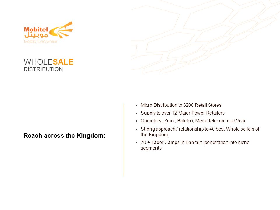 WHOLESALE Reach across the Kingdom: DISTRIBUTION