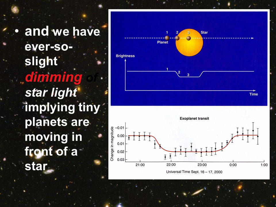 and we have ever-so-slight dimming of star light implying tiny planets are moving in front of a star