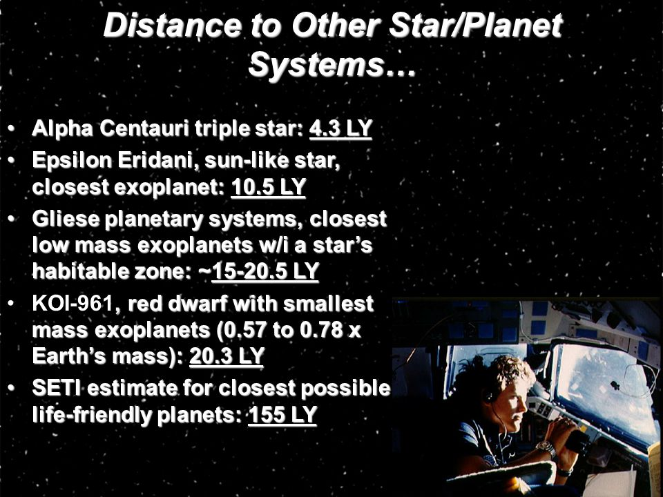 Distance to Other Star/Planet Systems…