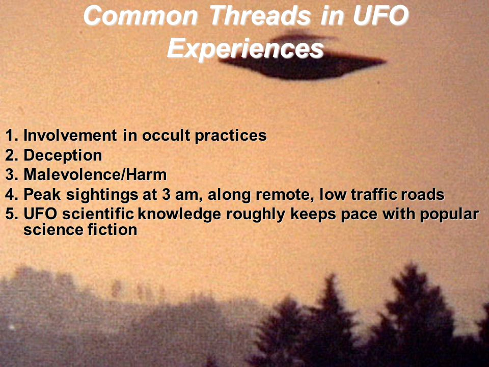 Common Threads in UFO Experiences