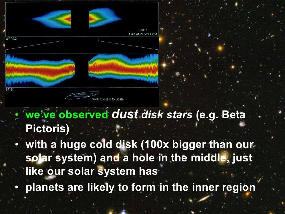 we've observed dust disk stars (e.g. Beta Pictoris)