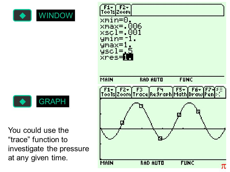 WINDOW GRAPH You could use the trace function to investigate the pressure at any given time. p