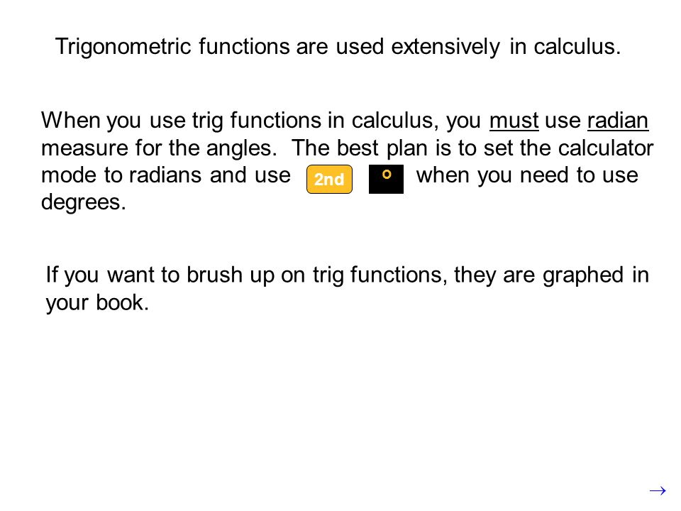 Trigonometric functions are used extensively in calculus.