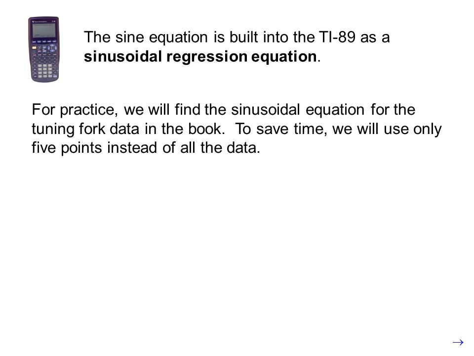 The sine equation is built into the TI-89 as a sinusoidal regression equation.