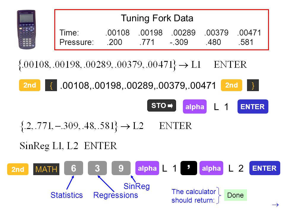 Tuning Fork Data Time: .00108 .00198 .00289 .00379 .00471.