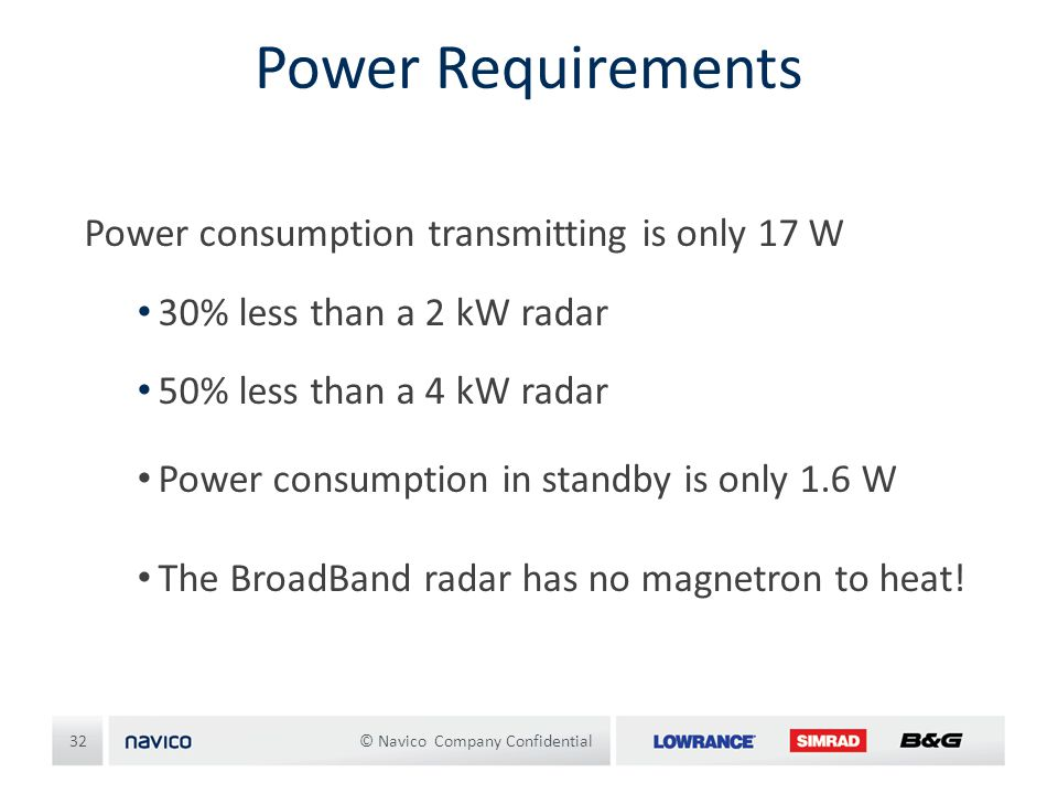 Power Requirements Power consumption transmitting is only 17 W