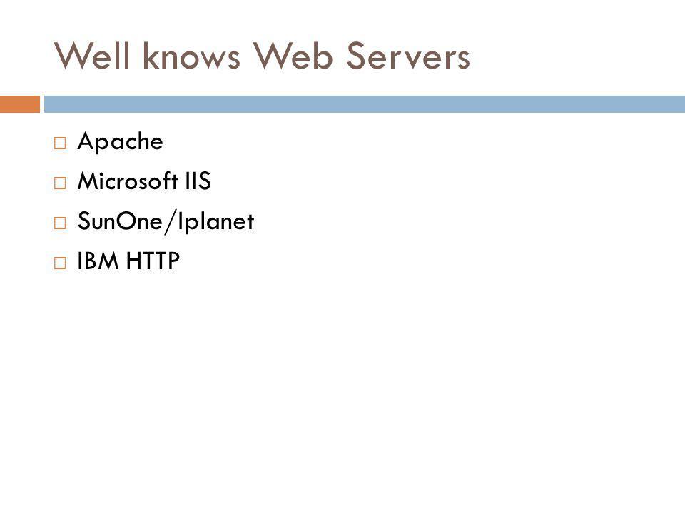 Well knows Web Servers Apache Microsoft IIS SunOne/Iplanet IBM HTTP