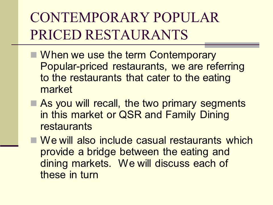 CONTEMPORARY POPULAR PRICED RESTAURANTS