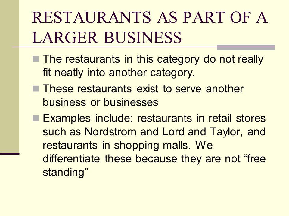RESTAURANTS AS PART OF A LARGER BUSINESS