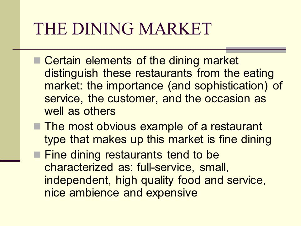 THE DINING MARKET