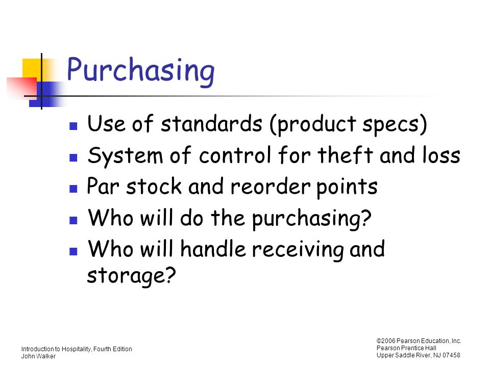 Purchasing Use of standards (product specs)