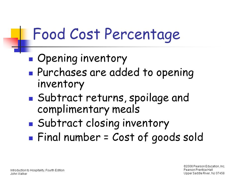 Food Cost Percentage Opening inventory