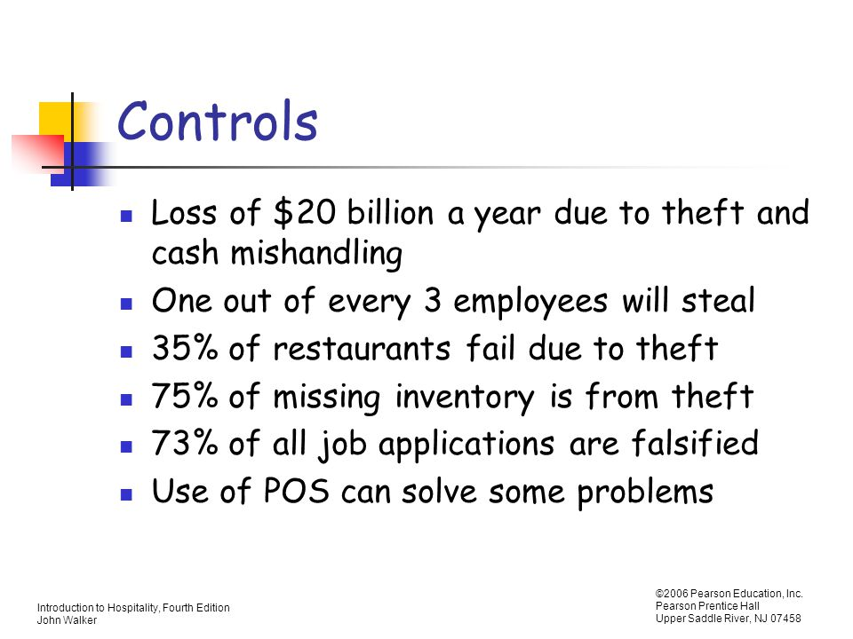 Controls Loss of $20 billion a year due to theft and cash mishandling