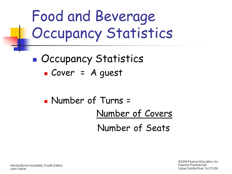 Food and Beverage Occupancy Statistics