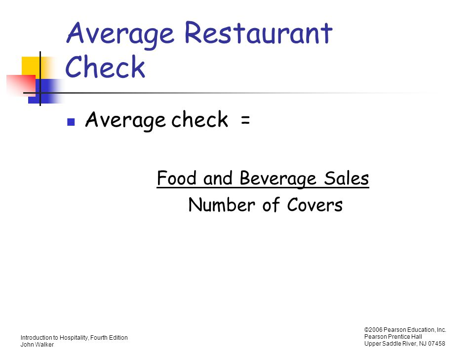Average Restaurant Check
