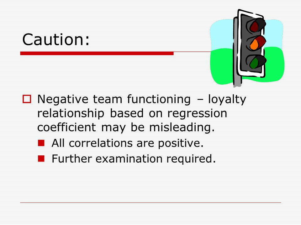 Caution: Negative team functioning – loyalty relationship based on regression coefficient may be misleading.