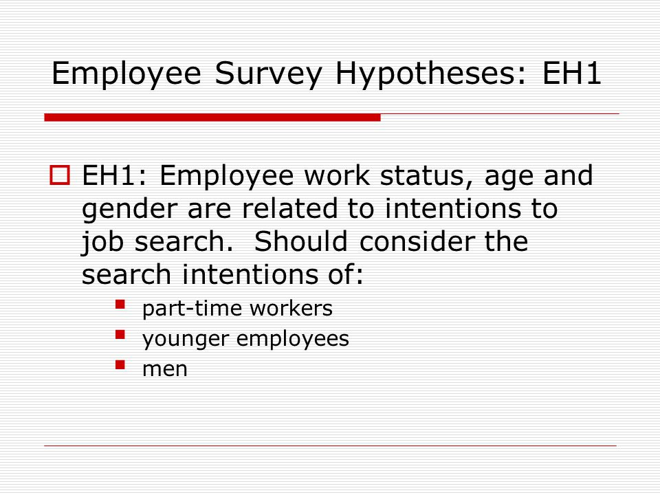 Employee Survey Hypotheses: EH1