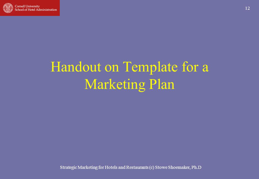 Handout on Template for a Marketing Plan