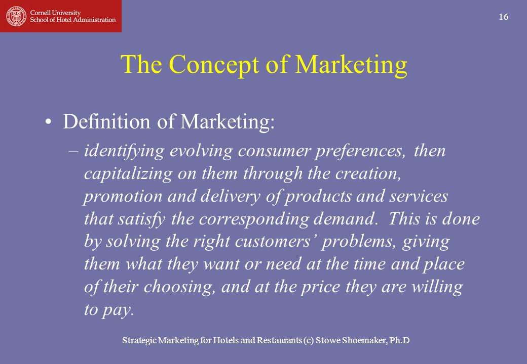 The Concept of Marketing