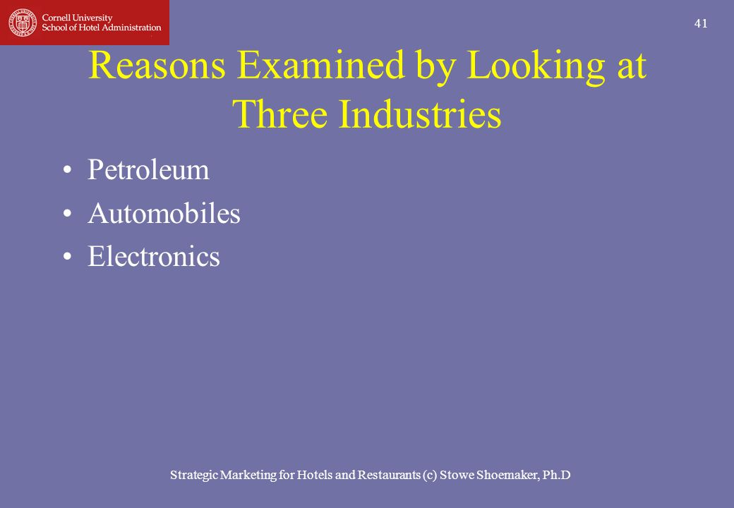 Reasons Examined by Looking at Three Industries