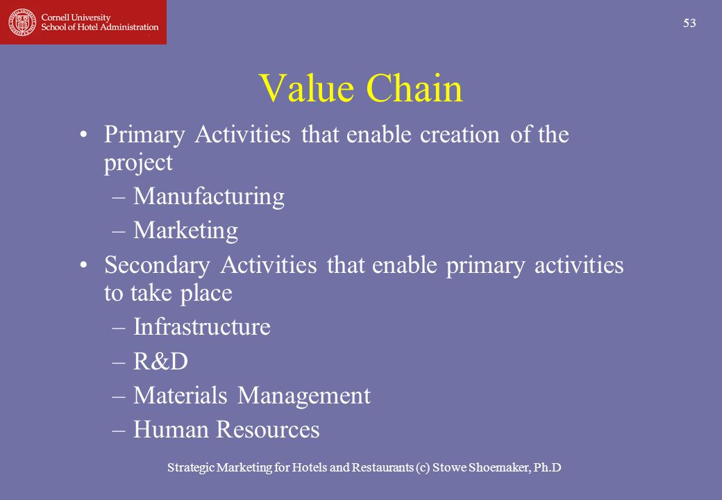 Value Chain Primary Activities that enable creation of the project