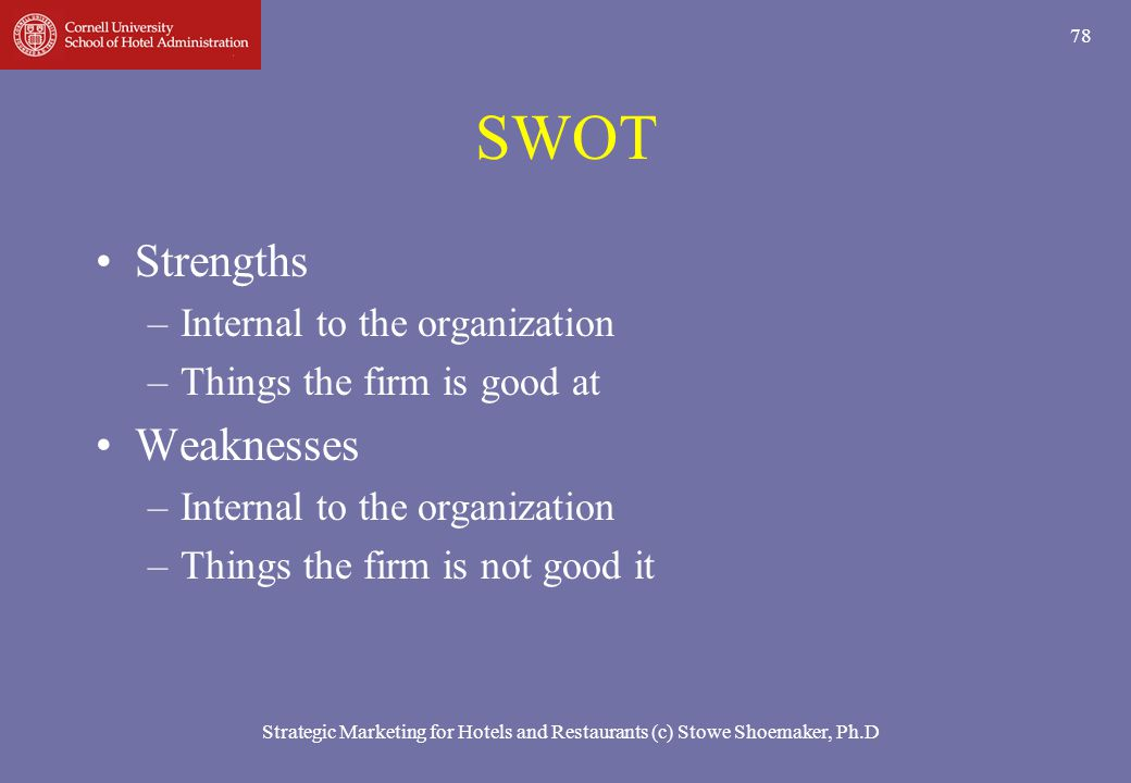 SWOT Strengths Weaknesses Internal to the organization