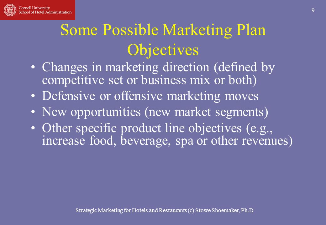 Some Possible Marketing Plan Objectives