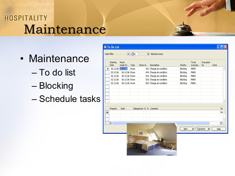 Maintenance Maintenance To do list Blocking Schedule tasks