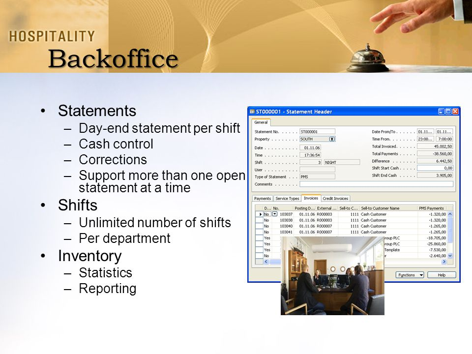 Backoffice Statements Shifts Inventory Day-end statement per shift