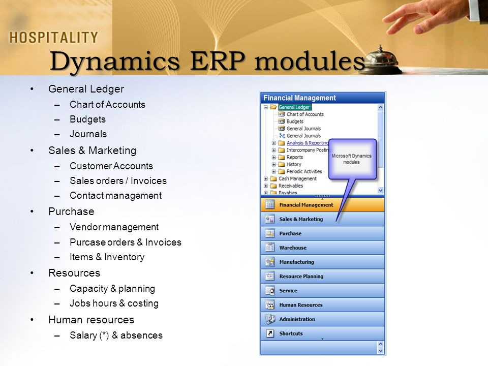 Dynamics ERP modules General Ledger Sales & Marketing Purchase