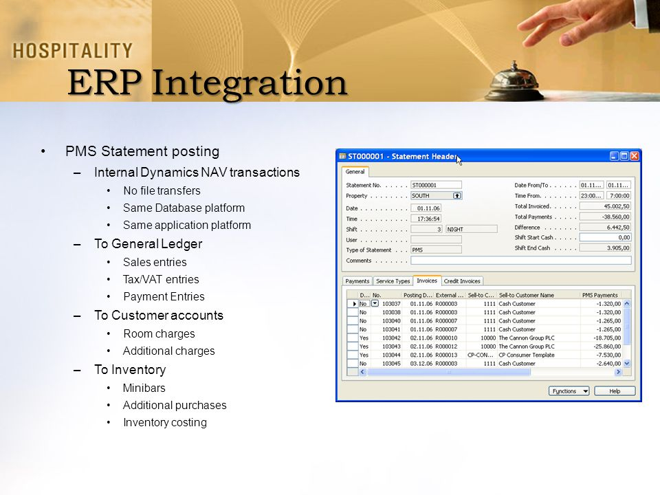 ERP Integration PMS Statement posting