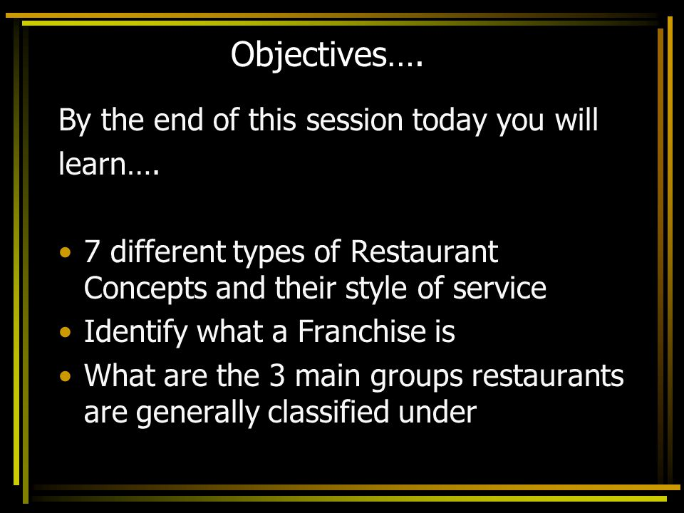 Objectives…. By the end of this session today you will learn….