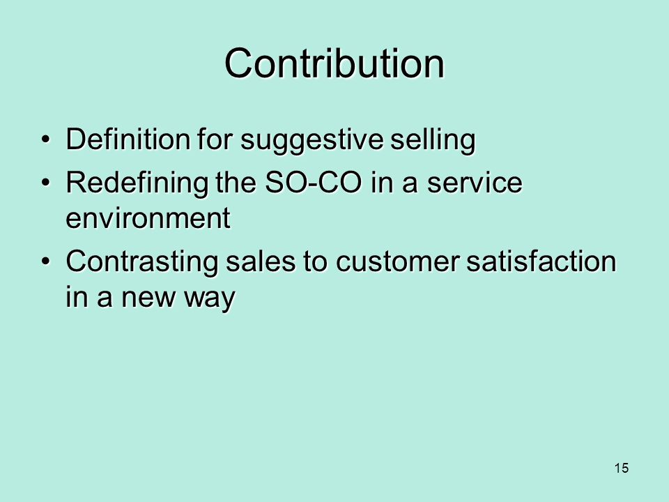Contribution Definition for suggestive selling