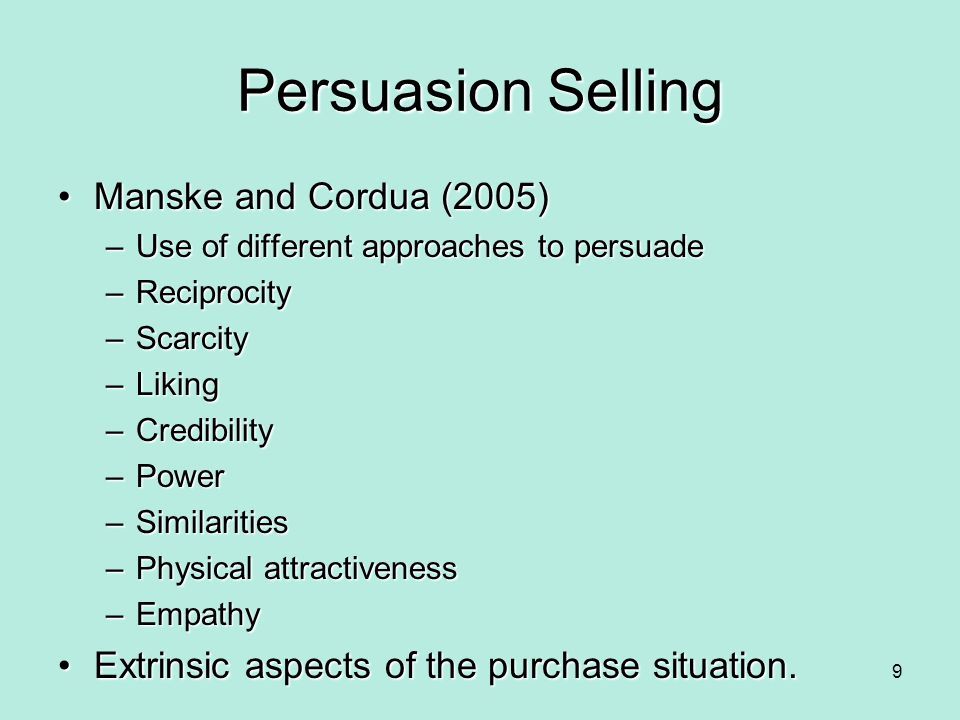 Persuasion Selling Manske and Cordua (2005)