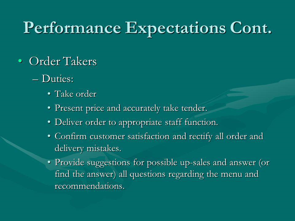 Performance Expectations Cont.