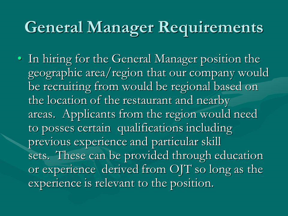 General Manager Requirements