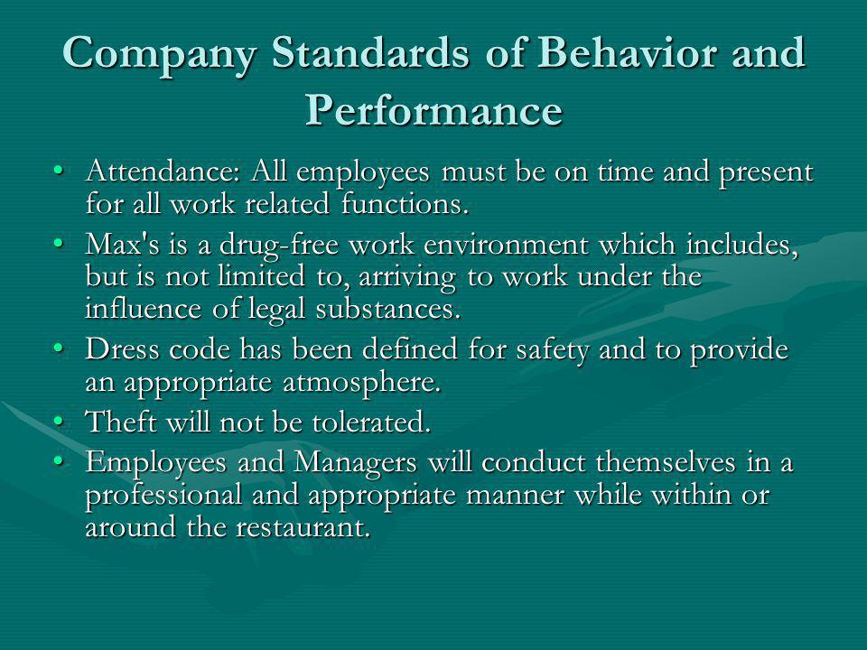 Company Standards of Behavior and Performance