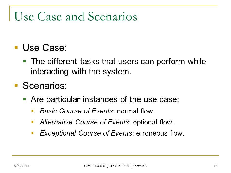 Use Case and Scenarios Use Case: Scenarios: