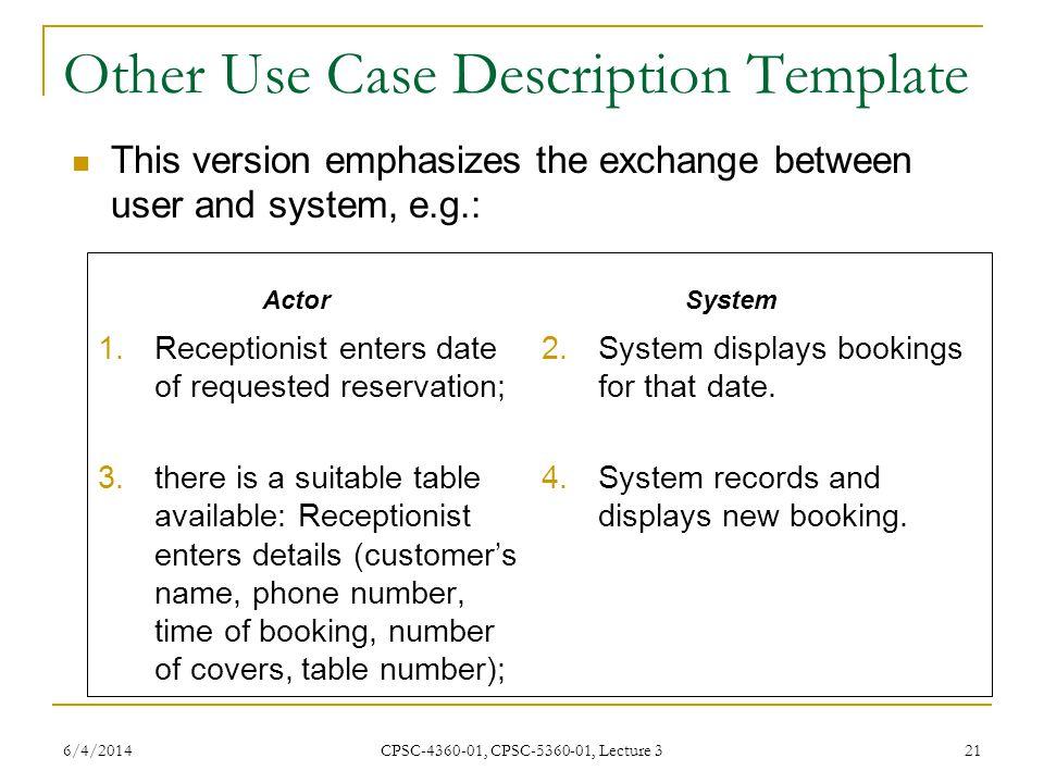 Other Use Case Description Template