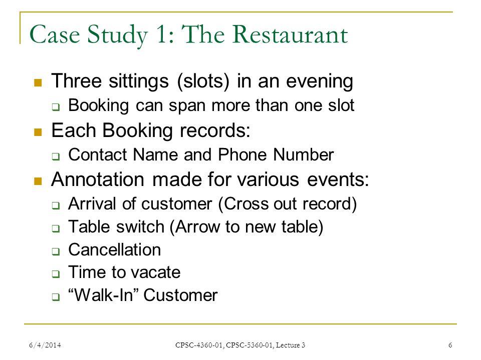 Case Study 1: The Restaurant